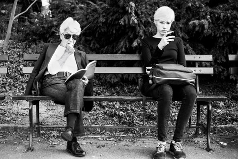 Two generations of white hair, New York, USA, 2013