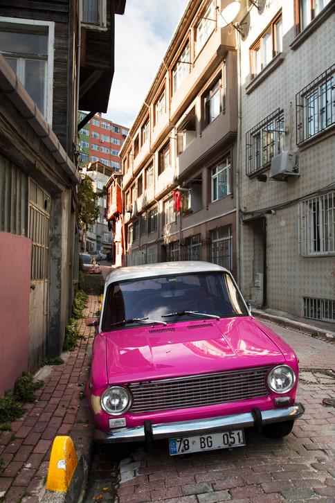 Pink shiny car, Balat, Istanbul, Turkey