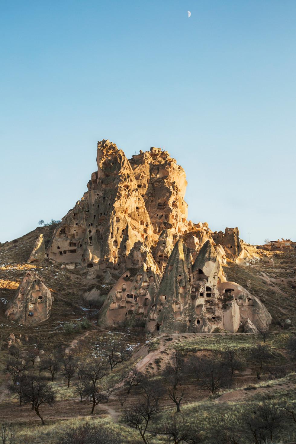 Moon and rocks, Cappadocia, Turkey, 2017
