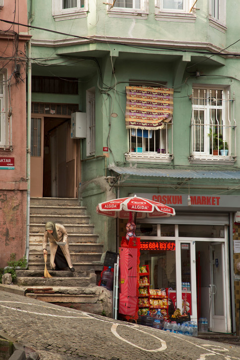 Cleaning stairs,  Balat, Istanbul, Turkey, 2017