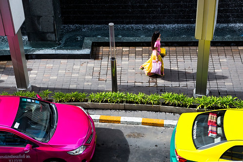 Pink and yellow street view