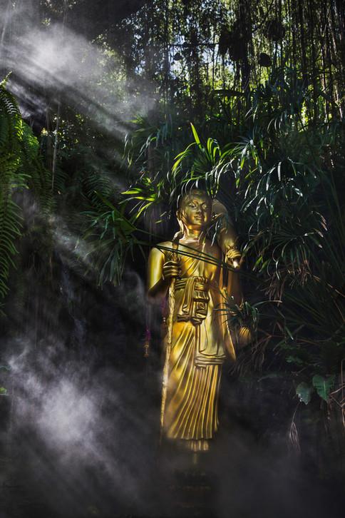 Magic light, Golden mountain, Bangkok, Thailand, 2015
