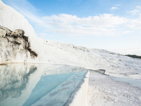 A touch of blue in the white scape, Pamukkale, Turkey, 2017