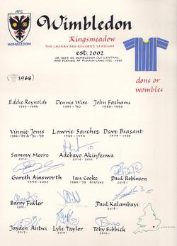 AFC Wimbledon signatures