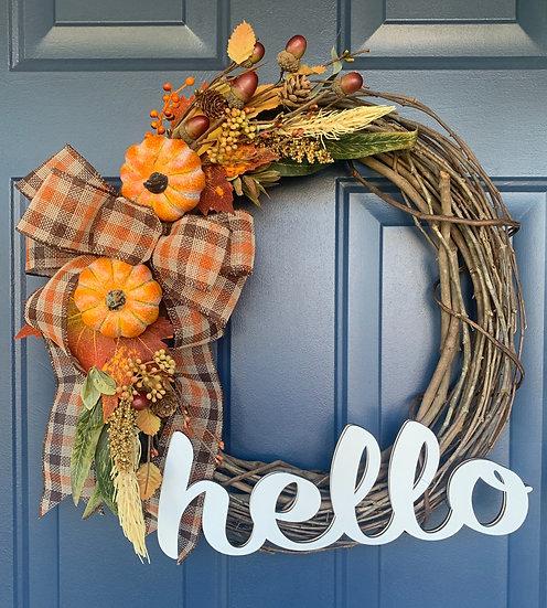 Hello Orange Fall Wreath