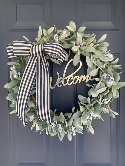 Navy Lamb's Ear Wreath