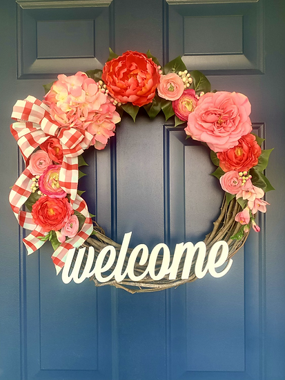 Love Pink Floral Wreath