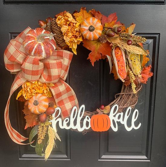 Hello Fall Harvest Wreath