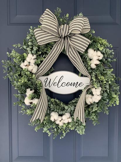 Black and White Boxwood Wreath