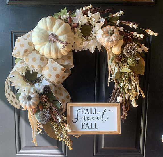 Floral Harvest Fall Wreath in Creams
