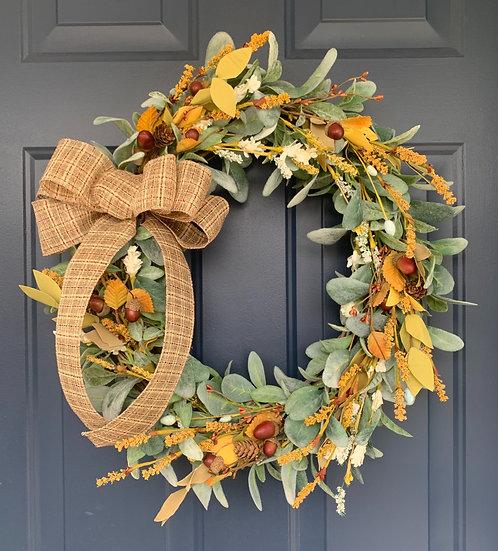 Fall Lamb's Ear Wreath
