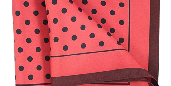 Silk Printed Pocket Square Silk Red/Black Polka