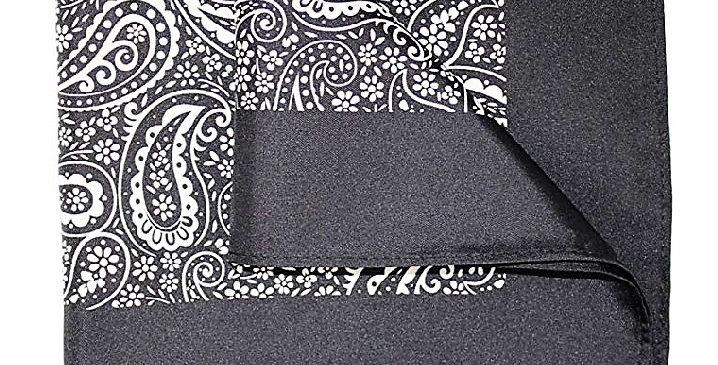 Silk Printed Pocket Square Silk Black/White Paisley