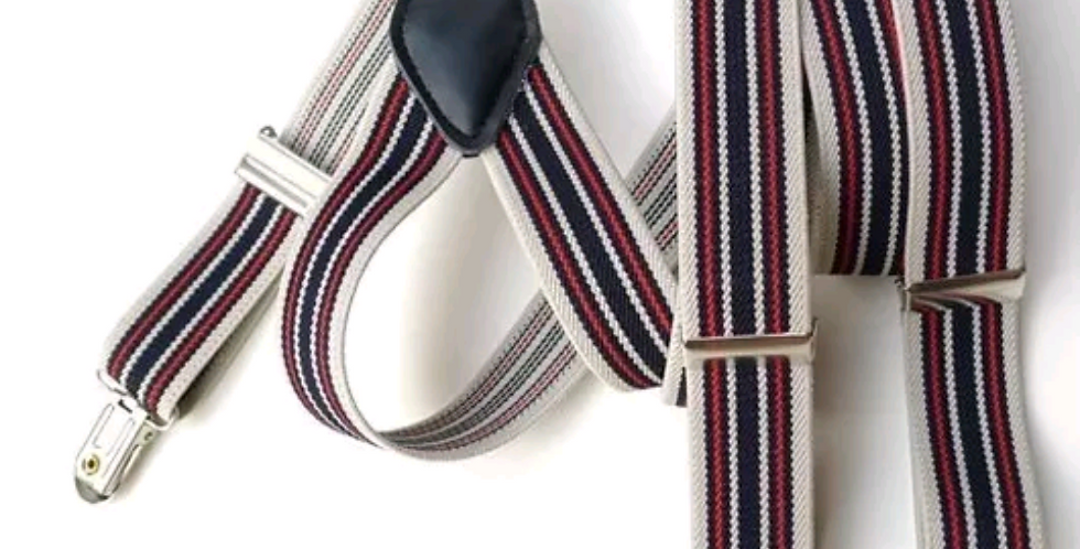 Clip Suspenders Tan With Red And Brown Stripes