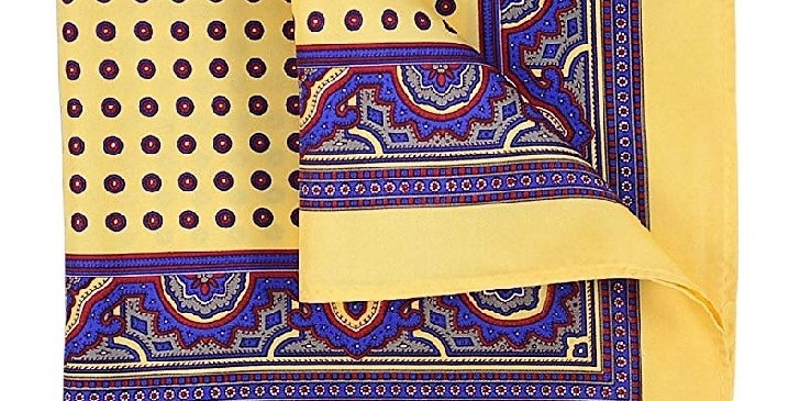 Silk Printed Pocket Square Silk Yellow/Blue red Circles Paisley