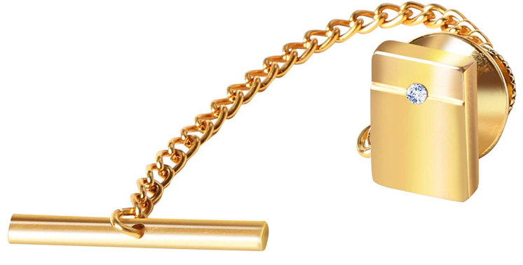 Tie Tack Gold With Clear Stud