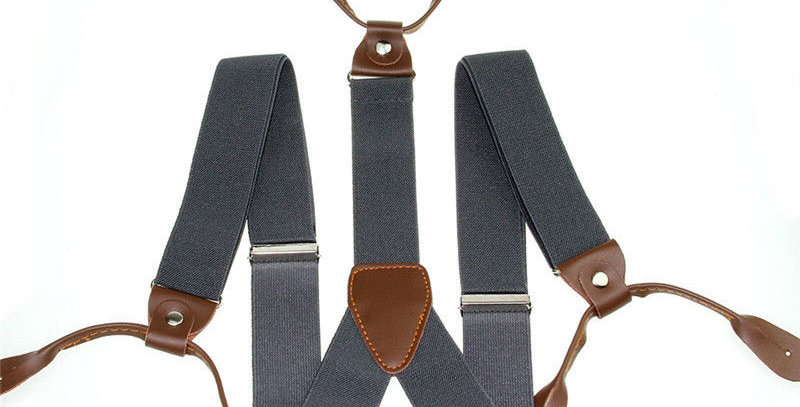Mens Button Suspenders Grey