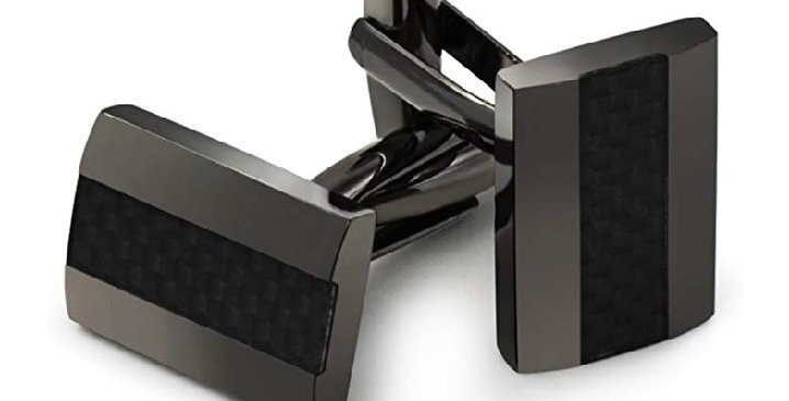 Handcrafted Carbon Fiber Rhodium Plated Cuff Links
