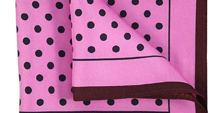 Silk Printed Pocket Square Silk Pink/Black Polka