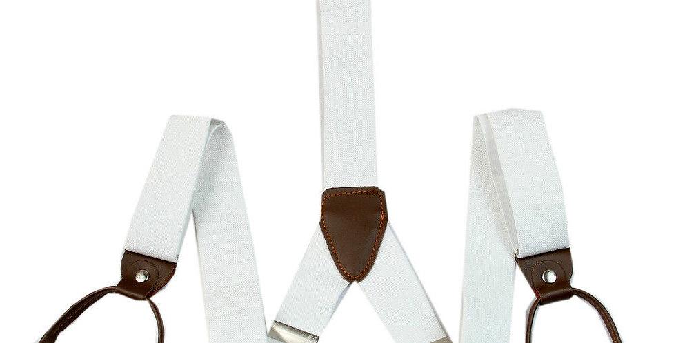 Mens Button Suspenders White Stripes Dots