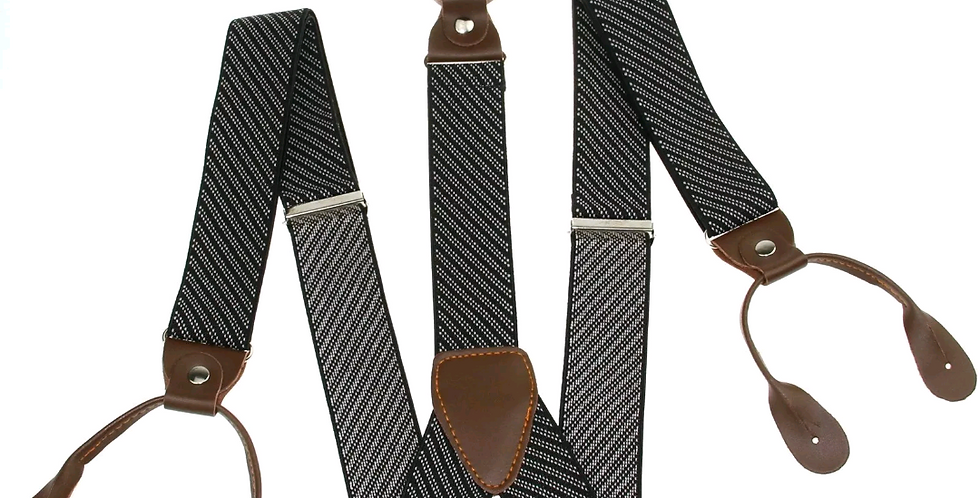 Mens Button Suspenders Brown  With White Stripes Dots