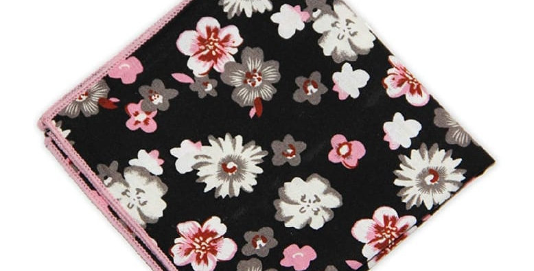 Navy Black With Flowers Cotton