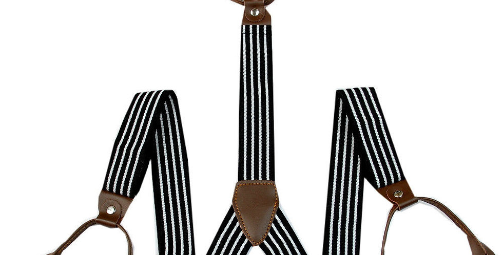 Mens Button Suspenders Dark Brown With White Stripes