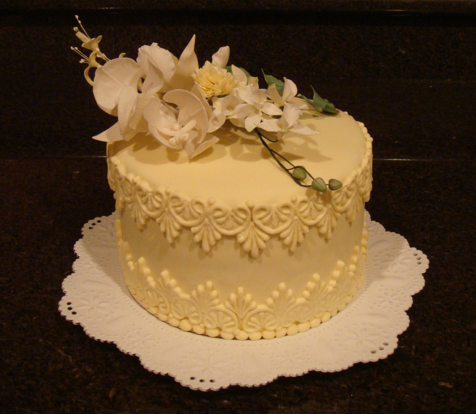 Lemon Curd Cake with Orchids