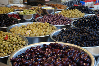 Different kinds of olives on a stall, Ca