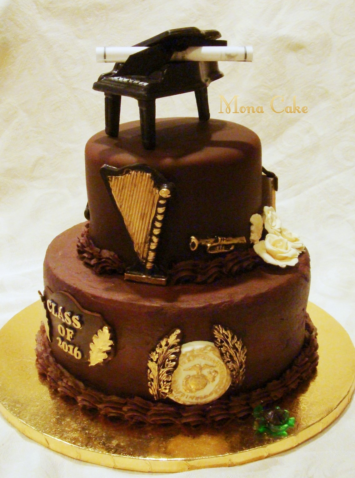 Graduation Cake with Chocolate Piano