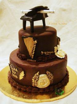 Graduation Cake with Chocolate Piano