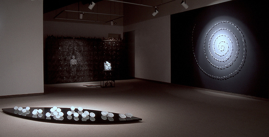 PETERBOROUGH ART GALLERY 1998  'To the Core' Installation view - Floor and spiral wall installations  (with  Irene Frolic in installation in background)