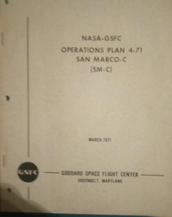 NASA-GSFC operations plan 4-71 SAN MARCO