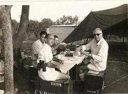 Proff. L. Broglio, M. Sirinian, C. Buongiorno e ospite al Campo Base, 1964