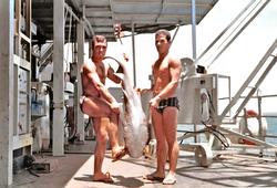 Sub Ilario Palone e Giuseppe Meloni mostrano preda dell'Oceano Indiano, S. Rita 1967-75