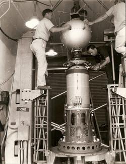 2nd stage of Shotput with SM test spacecraft on spin balance machine, WI 1963.jpg