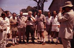 Wernher von Braun con gruppo al Campo Base del Poligono, 1971