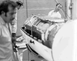 Tom, Albertini, Bernabei checking payload in the heatshield