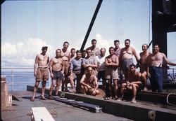 Prof. Sirinian e Ing. Spampinato con tecnici, S. Rita, 1964