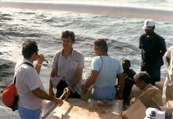 M. Albertini, F. Moretti, E. Altomare e A. Rapuano, marzo 1988