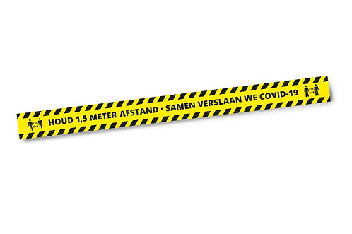 Houd 1,5 Meter Afstand  - Sticker 1200 x 100 mm Set 3 stuks - COVID