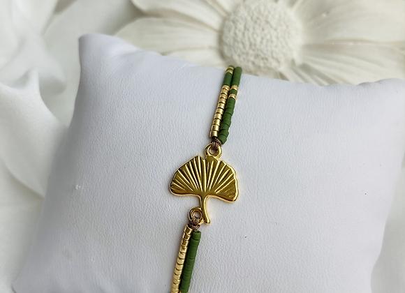 Bracelet Ginkgo doré double