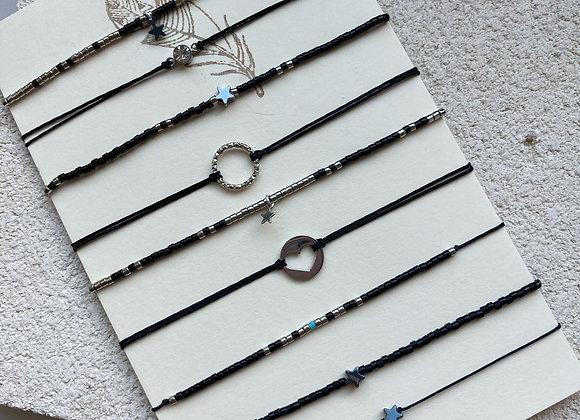 Bracelet cordon noir intense argenté