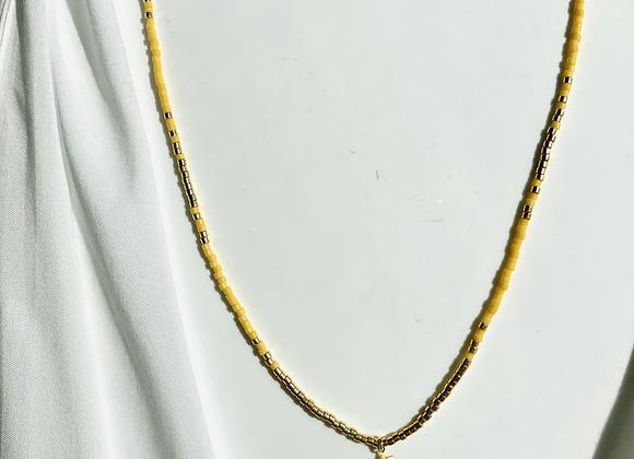 Collier perlés jaune 🌞
