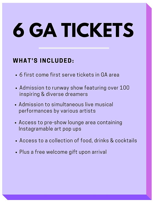Package 2 - 6 GA Tickets