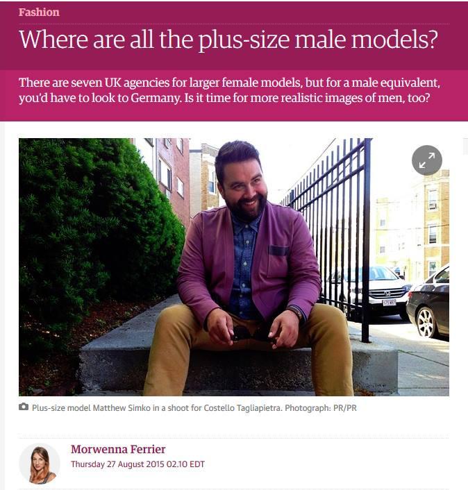Matthew Simko, plus size male model, The Guarian