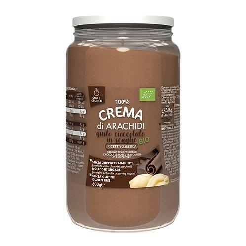 Smile Crunch crème d'arachide 100% Bio aux flocons de chocolat 600g pot en verre