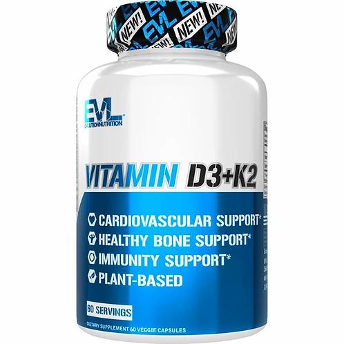 EVLution Nutrition, Vitamin D3+K2, 60 Veggie Capsules