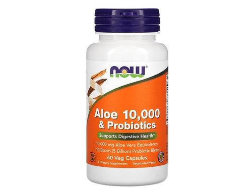 Now Foods Aloe 10 000 et Probiotiques, 60 Gélules végétales