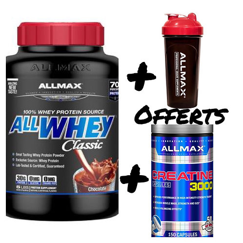 AllMax Nutrition AllWhey Classic 2270g shaker et créatine150caps offerts!